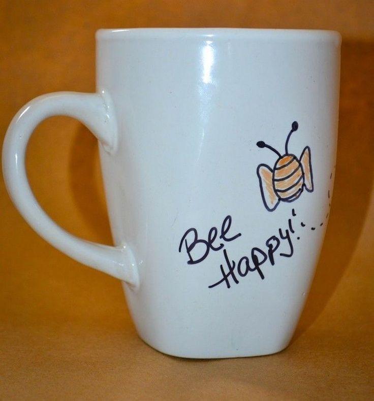 Spruch Glück und Biene mit Porzellanmaler gemacht