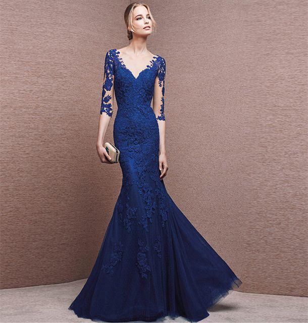 Modieuze Lange Koningsblauw Kant Prom Dress 2016 Mermaid Avondjurken Vrouwen Lange Mouwen Vestidos de Fiesta Uitverkoop