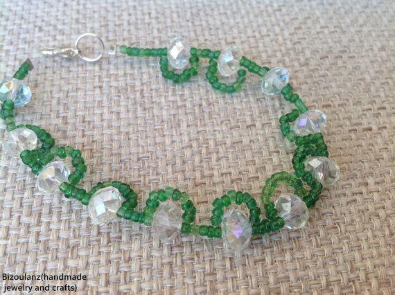 Green seed bead and clear swarovski crystal bracelet, beadweaving,mother's day,birthday gift bracelelt, friendship bracelet,stack bracelet