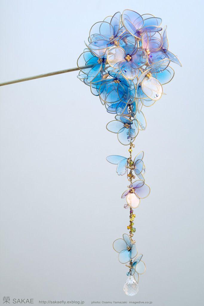 Hair stick, hydrangea, by Sakae: かんざし アジサイ 榮