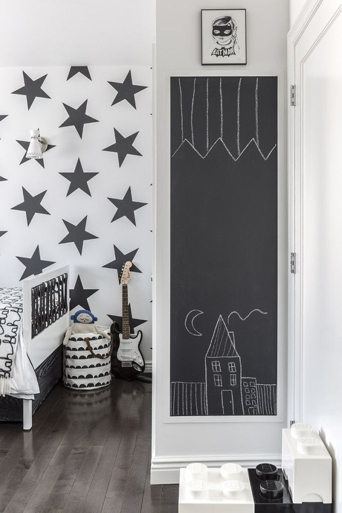 Have a small, awkward wall in the #kidsroom? Make it a chalkboard wall! - projectjunior.com