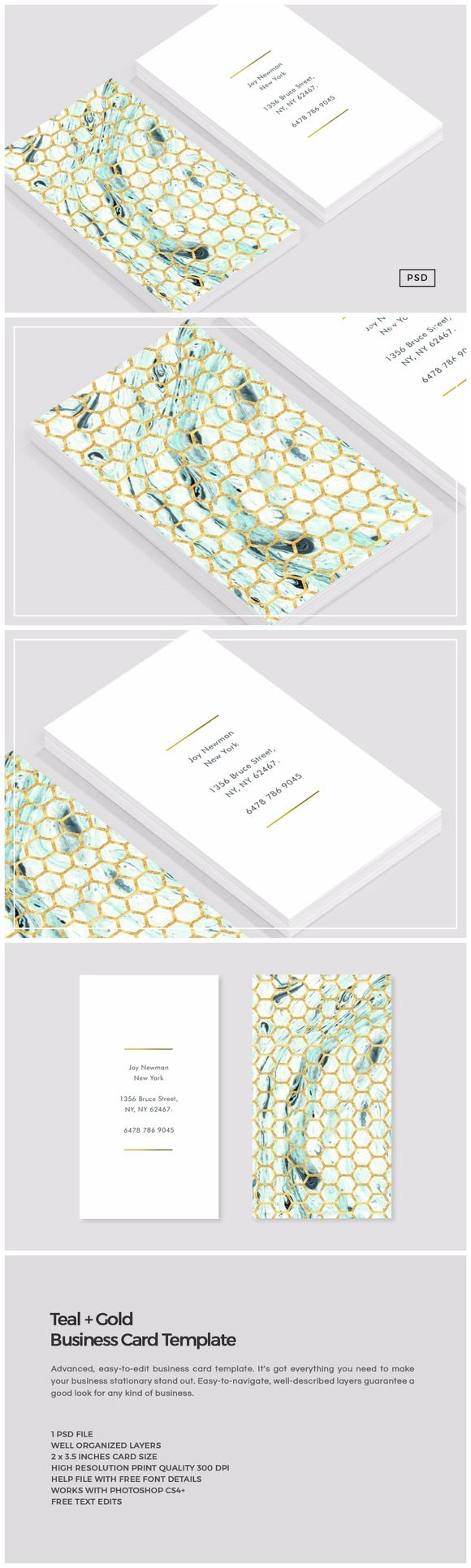 Teal + Gold Business Card Template by The Design Label on @creativemarket