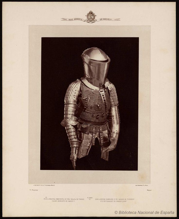 Media armadura compuesta de una celada de torneo y de un coselete de Carlos Quinto. Laurent, J. 1816-1886 — Fotografía — 1868
