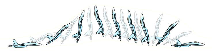 Sketch of Su-27 performing Pugachev's Cobra manoeuvre
