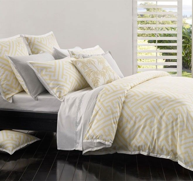 Chinese Key Quilt Cover Set Range Yellow | Manchester Warehouse