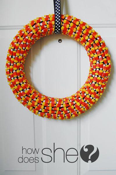Cute Candy Corn Wreath! #candycorn #wreath #howdoesshe
