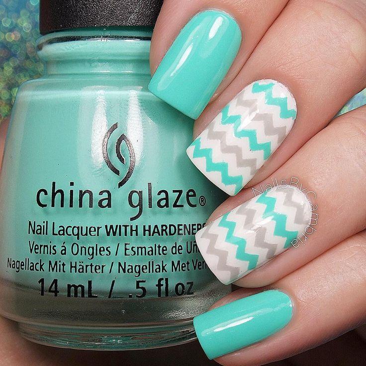 Tiffany Blue and Grey Chevron Nails