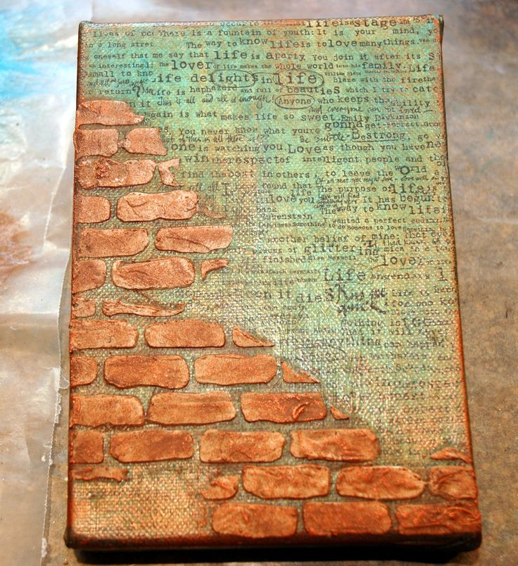 Life...Enjoy the Journey began as a 5x7 canvas covered with 7 Gypsies Tissue and colorized using acrylic paint.  Then I added Wendy Vecchi's brick stencil and washed the bricks with an acrylic wash. Love the texture and contrast of color!