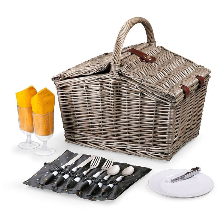 Picnic Time Piccadilly Service for Two Picnic Basket Set, Grey