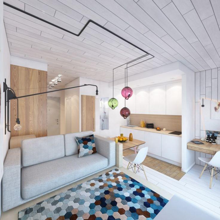 ... plafond imitation carrelage blanc neige et meubles de cuisine assortis