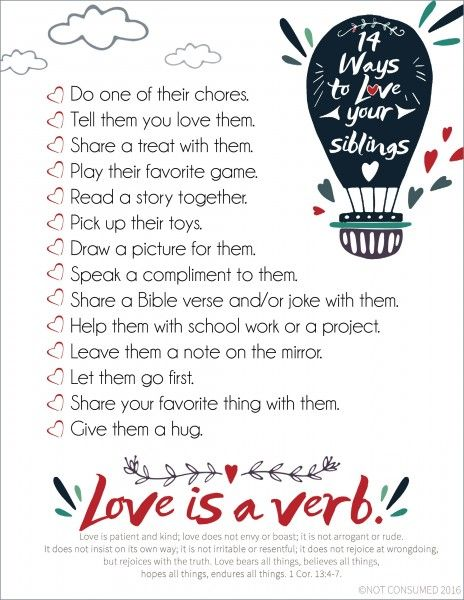Are your kids constantly fighting? One secret to helping them is giving them tools that foster great relationships. Download this free printable helping kids find simple ways to love their siblings.