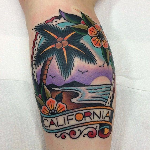 Nice Cali palm and coastal view by Jacob Doney @jacobdoneytattoo