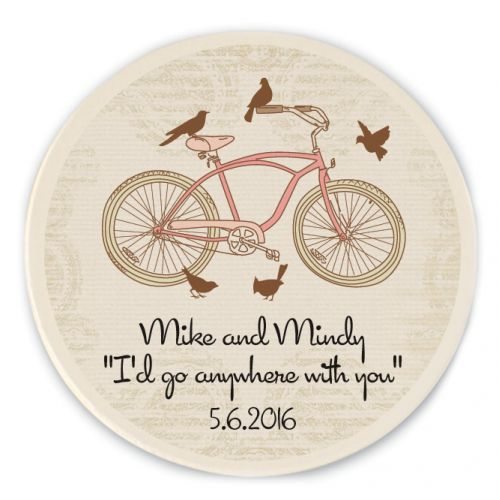 Bicycle Personalized Stone Coasters Springwedding Weddinggifts Giftideas Country Barn WeddingsRedneck