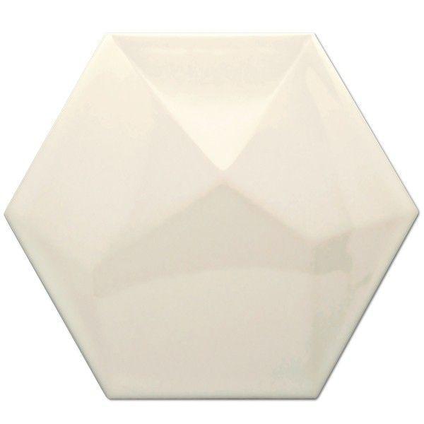 Heksagon Piramidal - płytki ścienne Heksagon Piramidal Crema Brillo 17x15