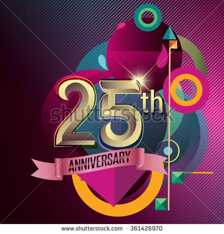 25th Anniversary, Party poster, party invitation - background geometric glowing element. Vector Illustration - stock vector