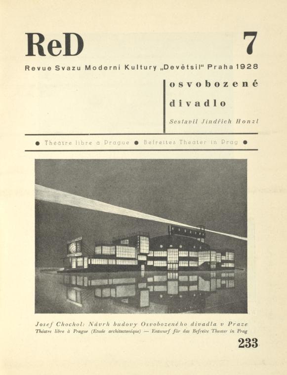 ReD. Ročník I/7. [Title page]; Josef Chochol: Návrh budovy Osvobozeného divadla v Praze = Théatre libre à Prague (Etude architectonique) = E...