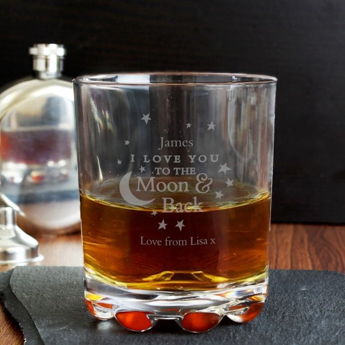 Personalised I Love You To the Moon and Back Glass Whisky Tumbler Engraved #fathersday #gifts #glass #tumbler #whisky