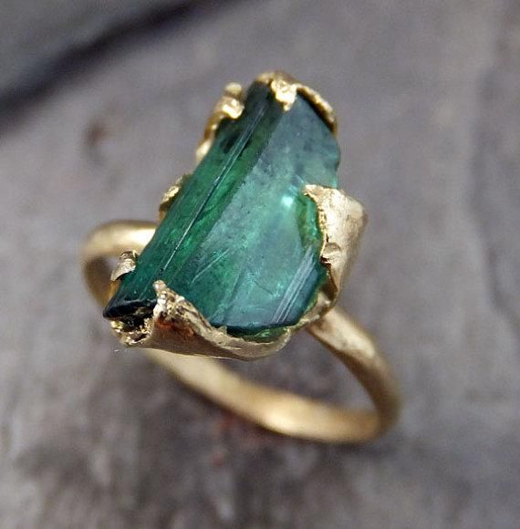 Raw Green Tourmaline Gold Ring Rough Uncut Gemstone tourmaline recycled 14k…