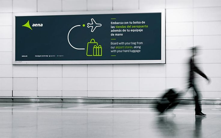 Aena airport //  we created and structured a new visual language: a graphic system to meet the multiple needs of the company. Establishing a system that would be flexible, capable of being recognisable across all applications; and clear, serving as a visual guide for airport users. Icons are a universal language, particularly suitable as a way to communicate information in an international environment. We based their morphology on the corporate typography, so that they work seamlessly…