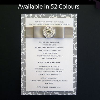 These layered wedding invitations with diamante ornament have a backing card printed in an ivy pattern. The are Available in more than 50 colours. www.kardella.com