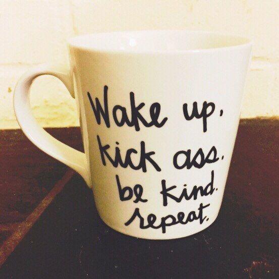 Réveillez-vous, botter le cul, sois gentil, répéter / / inspirational tasse à café / / personnalisés mug / / mug numérotée à la main / / drôle mug / / cadeau amateur de café