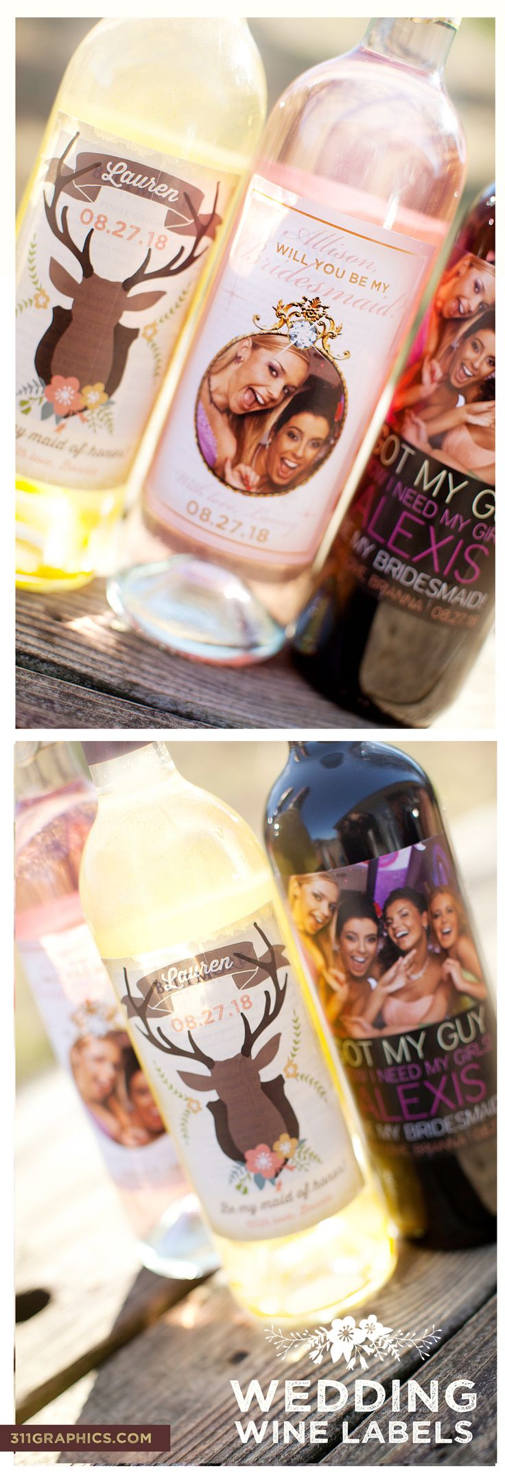rustic wine labels, bridesmaid wine labels, maid of honor, #weddingfavors #winelabels #weddingwinelabels #weddinginspiration