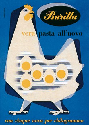 Advertising poster for Barilla (1958) by Italian graphic & industrial designer Erberto Carboni (1899-1984). via tiragraffi