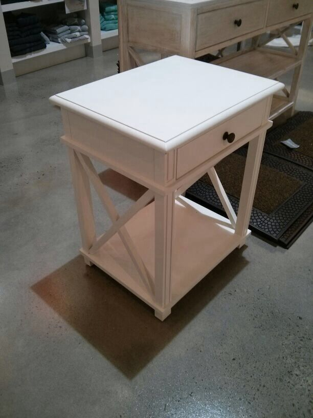 White single drawer bedside table from Adairs $499