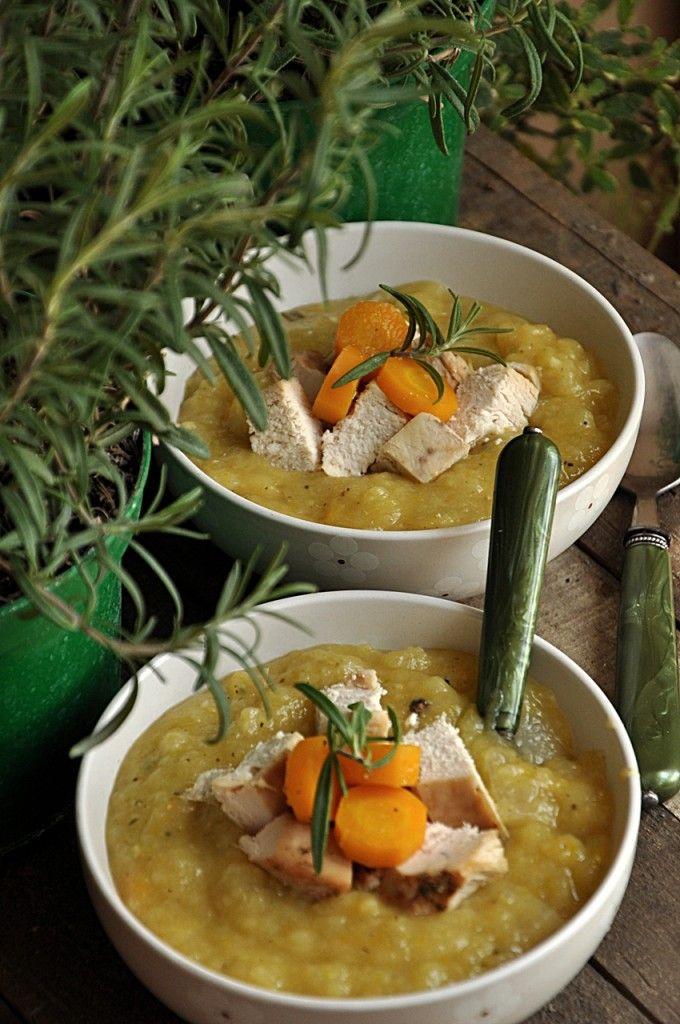 Zupa z kalarepy z grillowanym kurczakiem