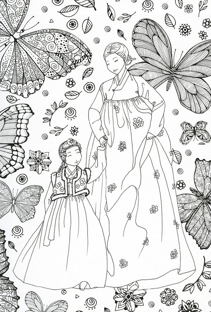 Coloring games like recolor - Adult Coloring Page Korean Traditional Clothing