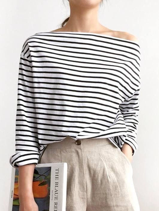 Striped boat neck top with natural unbleached high…