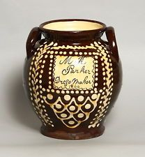 A BEAUTIFUL ANTIQUE SLIPWARE POTTERY VASE, STAFFORDSHIRE WELSH BUCKLEY? 1844