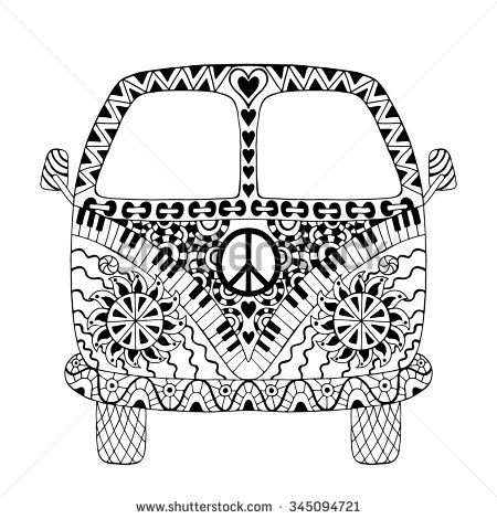 Hippie vintage car a mini van in zentangle style for adult anti stress. Coloring page with high details. Made by trace from sketch. Hippy monochrome vector illustration. Retro 1960s, 60s, 70s