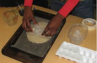 Use sand and ice cubes to explore polar regions, climate change, Mars and freezing/melting at Howtosmile.org. Create a model of permafrost and the effects of the ice melting through the surface in the TERC Ice on Mars activity.