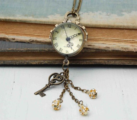 Enchanted WATCH Orb Steam Punk Clock Necklace by redtruckdesigns