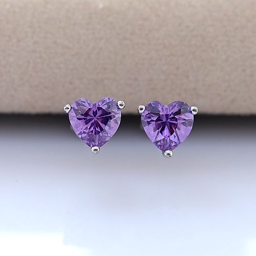 Free shipping promotion 925 sterling silver jewelry with high-end zircon earrings female love allergy free $6.20