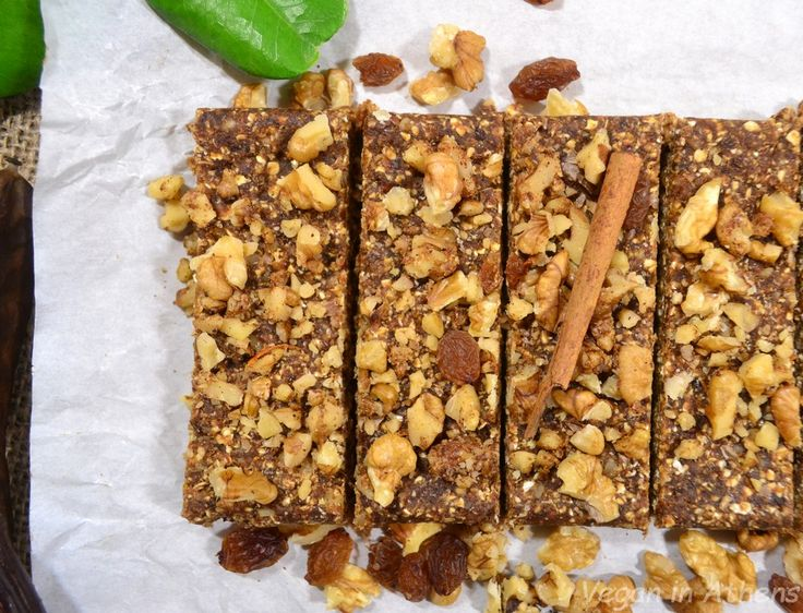 Raw vegan walnut and carob energy bars