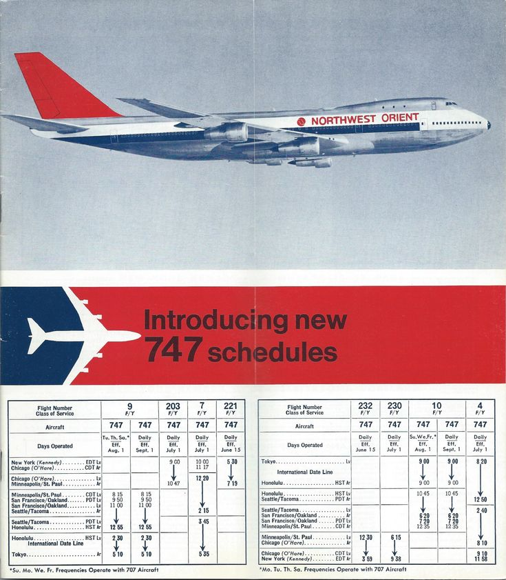Inside cover of the Northwest Orient Airlines April 26, 1970 timetable, showing the schedules for initial 747 service.