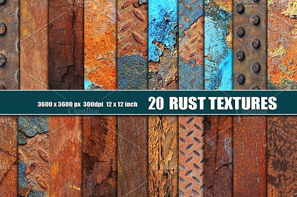 20 RUSTED METAL TEXTURES by Area on @creativemarket