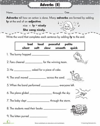 Worksheets: ly Adverbs