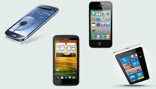 Samsung Galaxy S3 y HTC One X vs. iPhone 4S y Nokia Lumia 900 (Comparación)