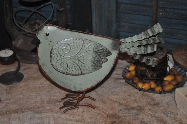 Primitive Folk Art Metal / Tin Sage Green Bird Wire Feet Green paint over Rust  #NaivePrimitive