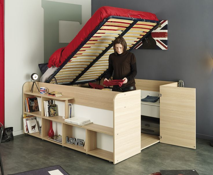 Amazing New Storage Bed - The Space Up double cabin bed has a Huge storage capacity with easy walk in access via a door at the foot of the bed. The sprung slat base lifts up to reveal a variety of storage shelves and 2 spacious drawers. The outer shelving is cleverly designed as the step to the sleeping area, a handy bedside shelf and 6 open storage areas.  http://www.thehomeandofficestores.co.uk/kids-avenue-space-up-double-cabin-bed-with-storage-p-568.html: