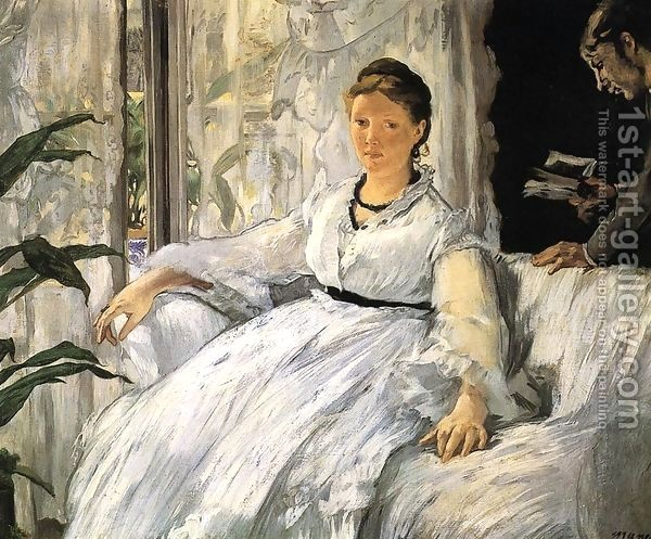 Edouard Manet,The painting depicts the artist's wife, Suzanne Manet (born Suzanne Leenhoff), seated, and their son, Leon, standing and reading a book
