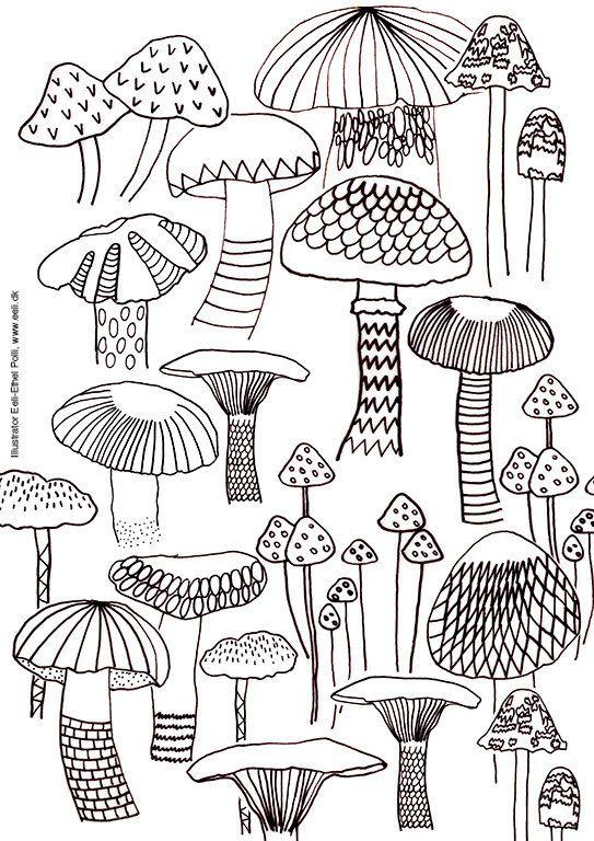 mushroom coloring sheet printable instant by EeliArtStudio on Etsy