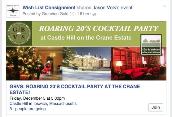"""Join the party! The Roaring 20""""s is Back! see Facebook Event, https://www.facebook.com/events/568738619924283/"""