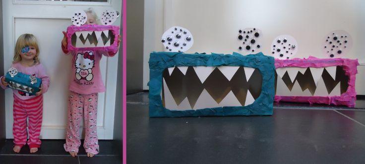DIY monster doosjes van zakdoekdozen; eenvoudig te maken: beplak dozen, het gat wat groter maken,tanden in en ogen op = nu 4 monstertjes in de plaats! :)