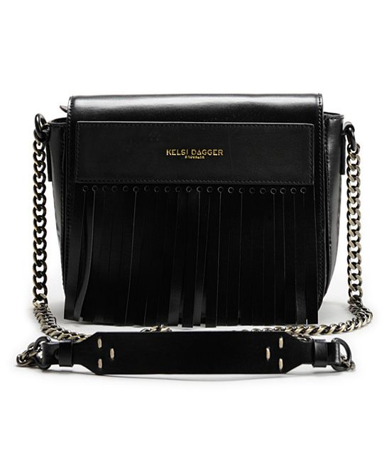 Kelsi Dagger Brooklyn Black Leather Kilt Crossbody Bag | zulily