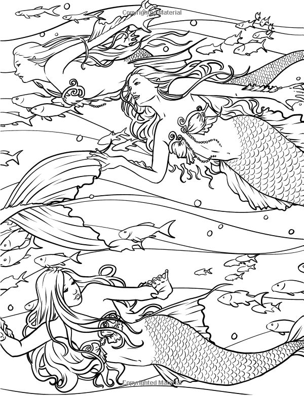 httpwwwamazoncommermaids coloring collection adult coloring pagescoloring - Mermaid Coloring Pages Adults