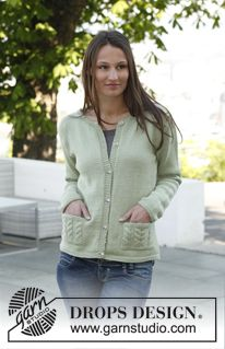 "Knitted DROPS jacket with cable pockets in ""Merino Extra Fine"". Size: S - XXXL ~ DROPS Design"